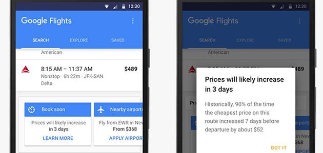 Google consiglia il momento giusto per acquistare un volo