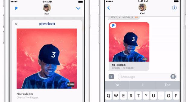 Pandora su iMessage consente di condividere musica