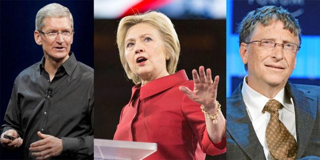 Tim Cook e Bill Gates possibili Vp per Hillary Clinton