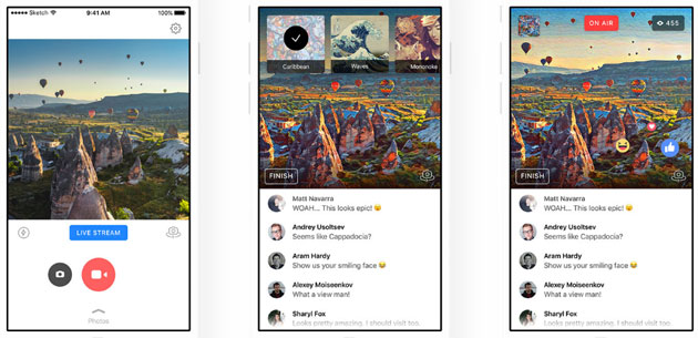 Prisma, stili artistici bloccati su Facebook Live