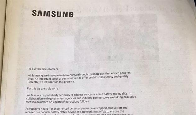 Galaxy Note 7, Samsung chiede scusa sulle pagine dei giornali