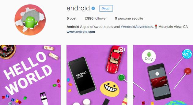 Android sbarca su Instagram