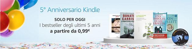 Kindle compie 5 anni in Italia, Amazon sconta i bestseller