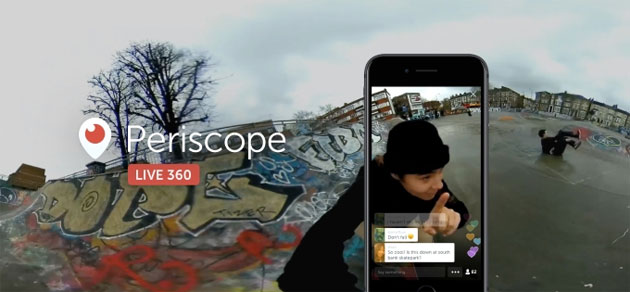 Twitter e Periscope supportano i Video Live a 360 gradi