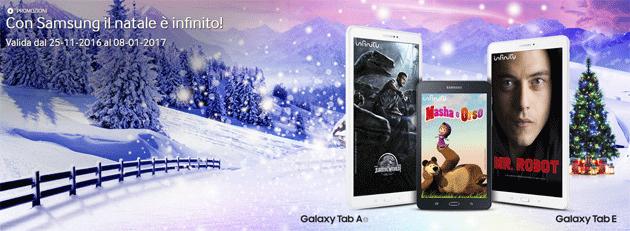 Samsung Galaxy Tab A 2016 o Galaxy Tab E per Natale regalano 1 anno di Infinity