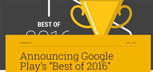 Google Play, il meglio del 2016 di giochi, app, film e musica