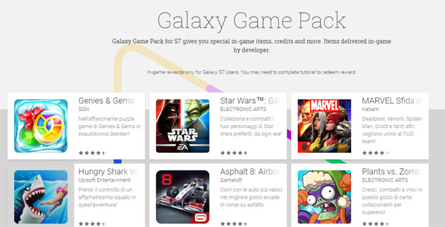 Samsung Galaxy Game Pack: omaggi per chi ha Galaxy S7 o S7 edge