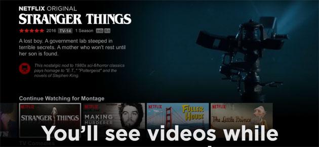 Netflix, nuova interfaccia utente con anteprime video