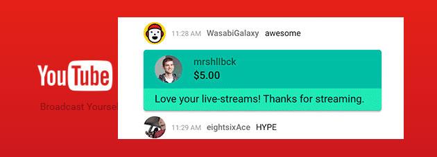 YouTube Super Chat per evidenziare commenti nei live stream