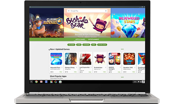 Foto Chromebook, app Android dal Google Play Store in Chrome OS