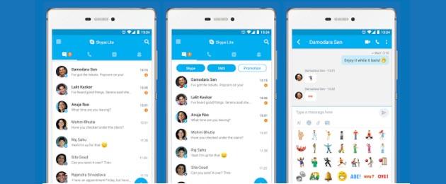Skype Lite per Android, versione ridotta di Skype che consuma meno risorse e dati