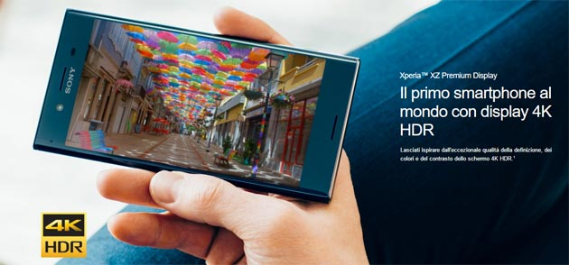 Foto Sony Xperia XZ Premium con Display 4k HDR: Specifiche, Foto, Video, Prezzi