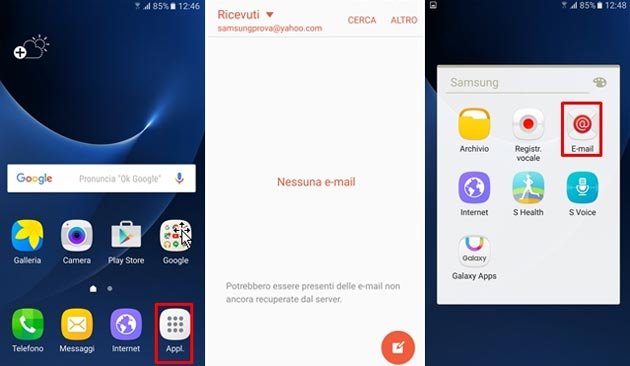Smartphone Samsung, come configurare la posta elettronica