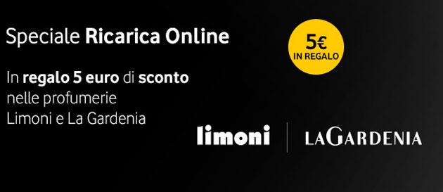 Vodafone Premio Ricarica Online, in regalo 5 euro nelle profumerie Limoni e La Gardenia