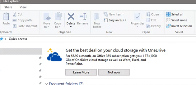 Microsoft mostra Annunci di OneDrive in Esplora Risorse, come disattivarli