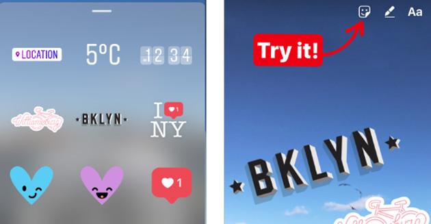 Geostickers su Instagram Stories, adesivi in base al luogo