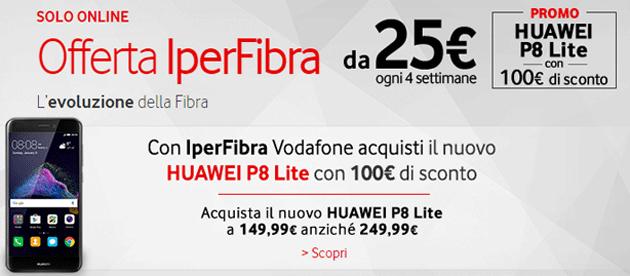 Vodafone, Huawei P8 Lite 2017 scontato 100 euro per i nuovi clienti Fibra o ADSL