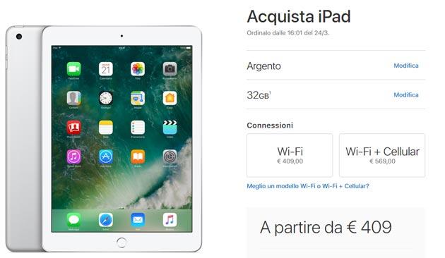 Apple iPad da 9,7 pollici in Italia da 409 euro, sostituisce iPad Air 2