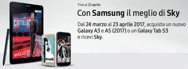 Samsung regala Sky con Galaxy A3 e A5 2017 o Galaxy Tab S3