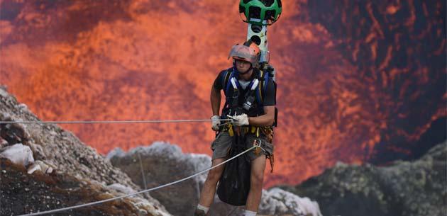 Google Street View ci porta in un vulcano attivo