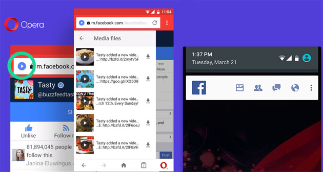Opera Mini scarica video e musica e integra Facebook
