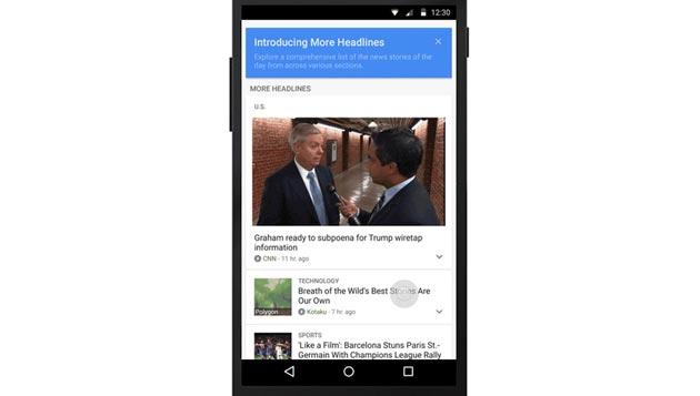 Google aggiorna app Notizie e Meteo per mostrare piu' News