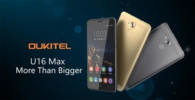 Oukitel U16 Max, phablet Android Nougat da 6 pollici HD con CPU octa-core