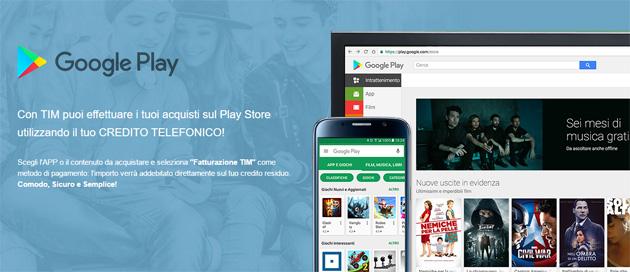TIM, come Pagare su Google Play con il Credito Telefonico