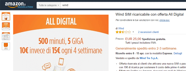 Wind SIM in vendita su Amazon.it