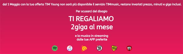 TIMmusic non piu' incluso in TIM Young, in cambio TIM regala 2GB di streaming musicale
