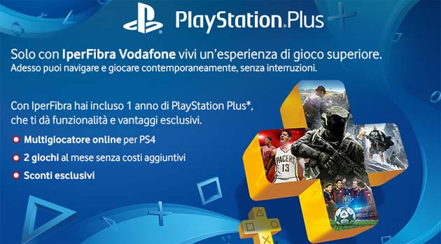 Foto Vodafone IperFibra regala PlayStation Plus per 12 mesi
