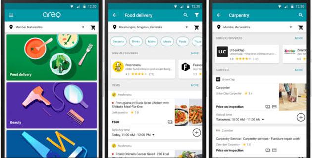 Google Areo, app per richiedere consegna di cibo e servizi domestici in India
