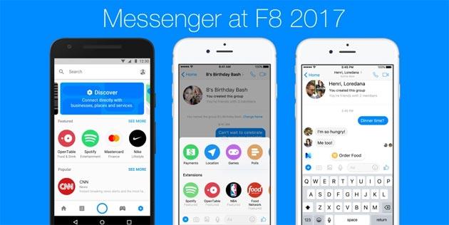 Messenger a F8 2017: Estensioni per Chat, scheda Scopri, Codici QR, assistente M e altre novita'