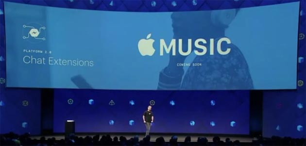 Spotify e Apple Music in Facebook Messenger