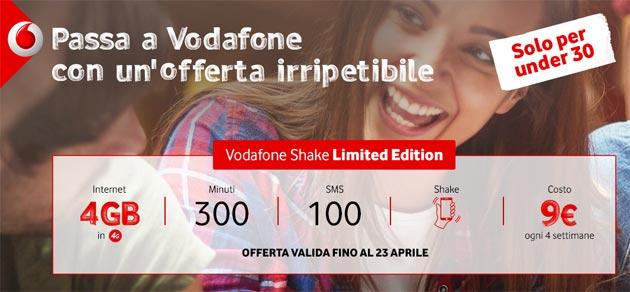Vodafone Shake Limited Edition: 300 minuti, 100 SMS, 4GB a 9 euro [fino al 23 aprile]
