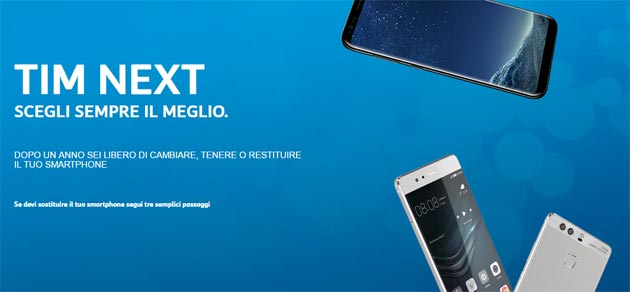 Foto TIM Next, offerta per cambiare smartphone ogni anno. Disponibili Samsung Galaxy S8, Huawei P10 e Apple iPhone 7