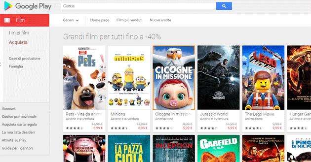 Google Play: Film a prezzi scontati per Pasqua