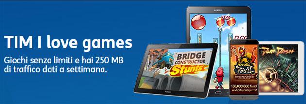 TIM I Love Games: Giochi senza limiti e 250 MB di traffico dati a settimana