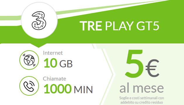 Tre PLAY GT5: 10 Giga e 1000 minuti a 5 euro ogni 4 settimane