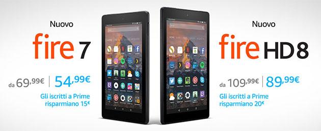 Amazon, nuovi tablet Fire 7 e Fire HD 8 in Italia dal 7 Giugno