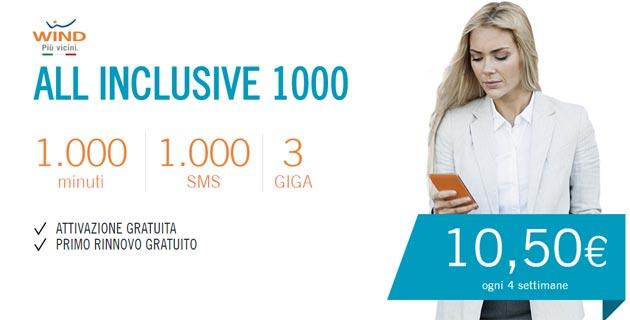 Wind All Inclusive 1000: ai nuovi clienti mille minuti, mille SMS e 3 Giga per 10,50 euro a rinnovo