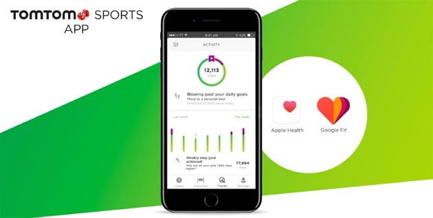 TomTom Sports si sincronizza con Google Fit e Apple Health