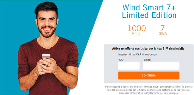 Wind Smart 7 Plus Limited Edition: 1000 minuti e 7 Giga a rinnovo