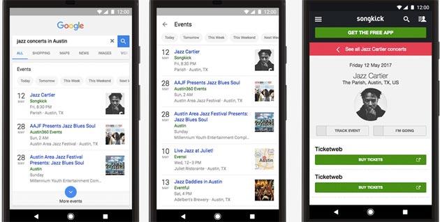 Google Ricerca introduce la funzione Eventi da mobile