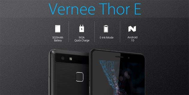 Vernee Thor E, telefono da 5 pollici con batteria da 5020 mAh di lunga durata fino a 3 giorni