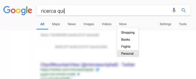 Ricerca Google, nuova scheda Personale
