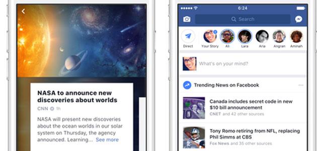 Facebook aggiorna sezione Trending Topics e li anticipa nel News Feed