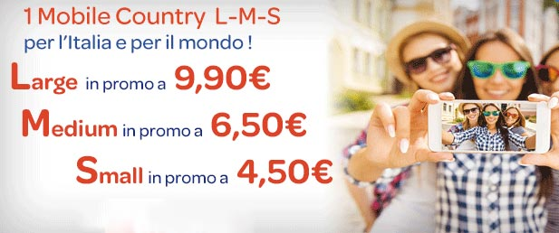 1Mobile Country Large, Medium e Small: dettagli Offerte