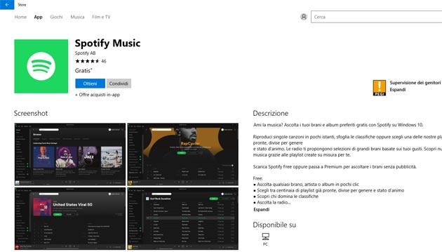 Spotify arriva sullo Store di Windows 10
