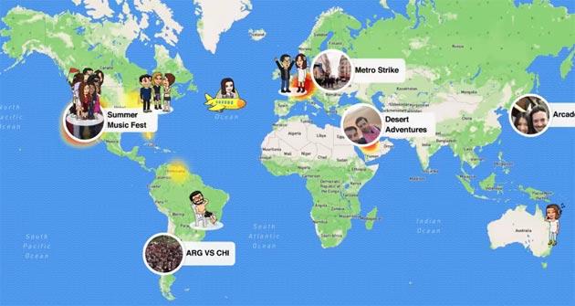 Snapchat Map mostra la posizione degli amici in una mappa